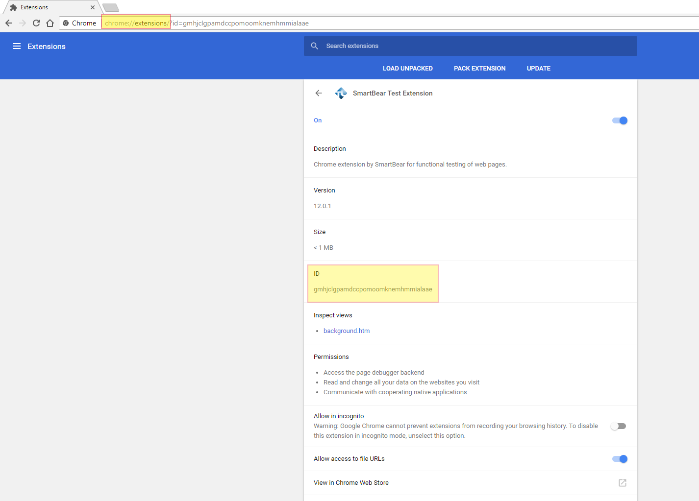 enable chrome extensions registry