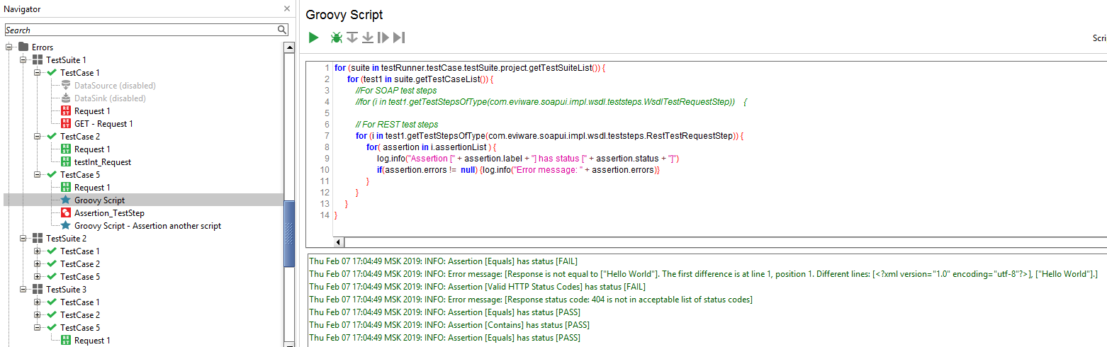 Working with Assertions using Groovy scripts ~ Case